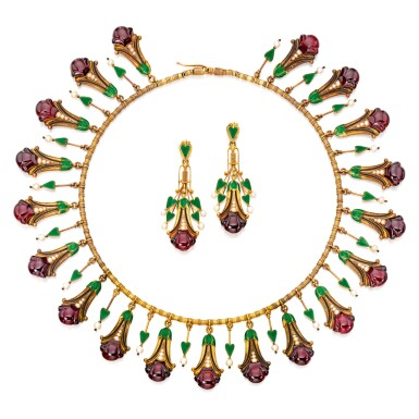 View 1. Thumbnail of Lot 586. GOLD, GARNET, SEED PEARL AND ENAMEL NECKLACE AND PAIR OF PENDANT-EARRINGS, CARLO GIULIANO | 黃金鑲翠榴石配小顆珍珠及琺瑯彩項鏈及吊耳環一對,Carlo Giuliano.
