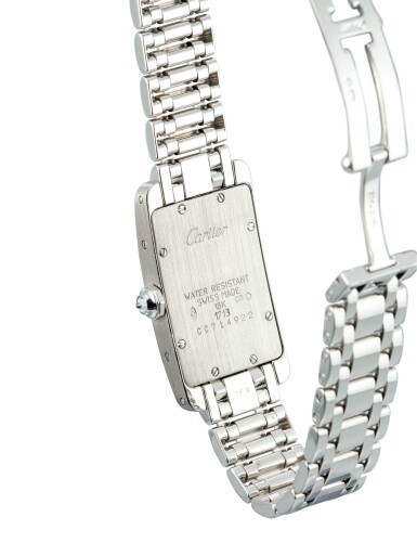 View 3. Thumbnail of Lot 1108. CARTIER   TANK AMÉRICAINE, REFERENCE 1713, A WHITE GOLD AND DIAMOND-SET WRISTWATCH WITH BRACELET, CIRCA 2000.
