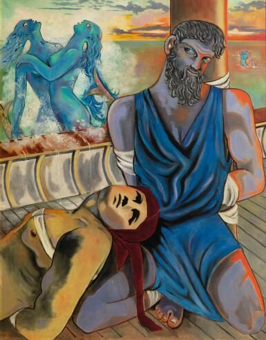 """View 1. Thumbnail of Lot 30. JEAN COCTEAU. Ulysse et les Sirènes. 1951. Huile sur toile, signée """"Jean"""", datée 1951 en bas à gauche. 146 x 114 cm."""