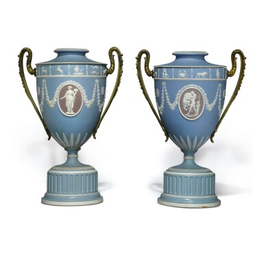A PAIR OF WEDGWOOD THREE-COLOR JASPERWARE GILT-METAL-MOUNTED VASES AND COVERS CIRCA 1860