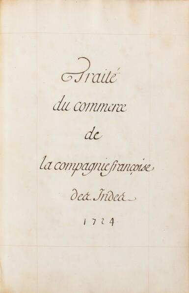 View 2. Thumbnail of Lot 203. COMPAGNIE DES INDES. Manuscrit. Traité du commerce, 1724. In-fol. maroquin rouge à dentelles de l'époque..