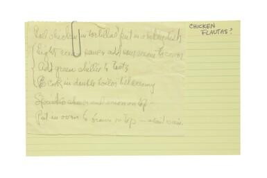 View 2. Thumbnail of Lot 57. GEORGIA O'KEEFFE | THE ARTIST'S RECIPE CARD FILE. CIRCA 1950S–1970S.