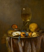 Still life with a roemer, timepiece, oyster and fruit