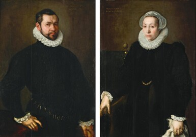 FOLLOWER OF WILLEM KEY | Portrait of a man in black, holding a glove in his left hand; Portrait of his wife, wearing black with white cuffs, ruff and cap, a handkerchief in her left hand