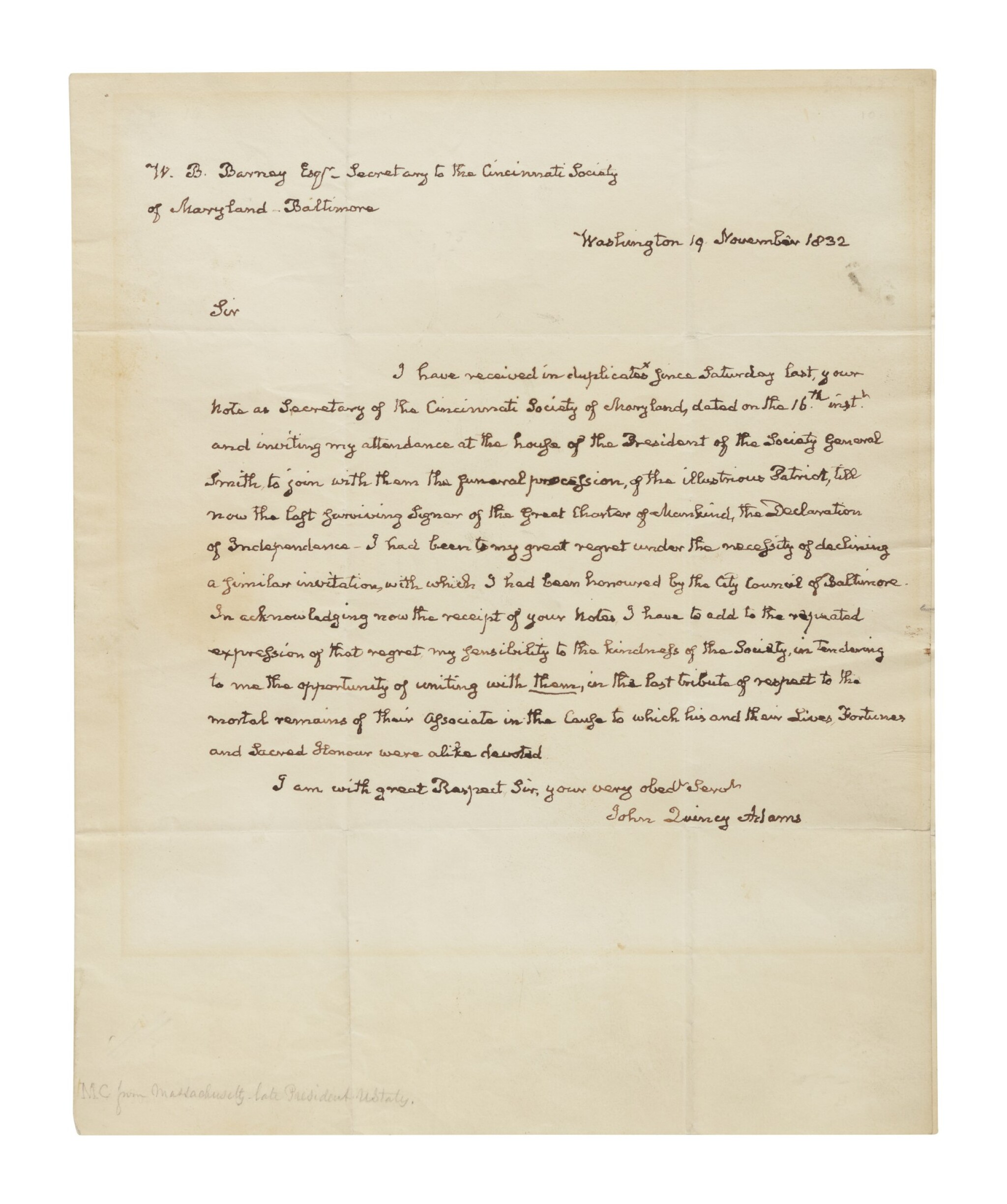 """View full screen - View 1 of Lot 49. Adams, John Quincy 