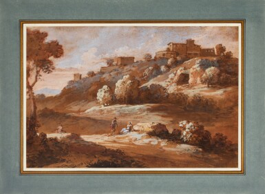 JAN FRANS VAN BLOEMEN, CALLED ORIZZONTE   Italianate landscape with figures in the foreground and a hilltop town in the distance