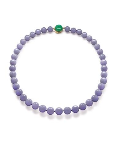 View 1. Thumbnail of Lot 1684. Lavender Jadeite Bead, Jadeite and Diamond Necklace | 天然紫色翡翠珠 配 天然翡翠 及 鑽石 項鏈.