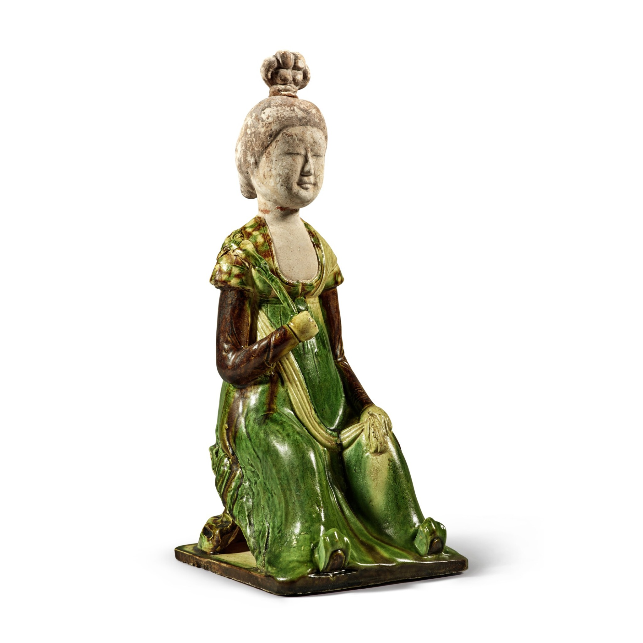 View full screen - View 1 of Lot 179. A sancai-glazed pottery figure of a seated court lady, Tang dynasty | 唐 三彩仕女坐俑.