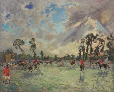 ANDRÉ HAMBOURG   AU CONCOURS HIPPIQUE