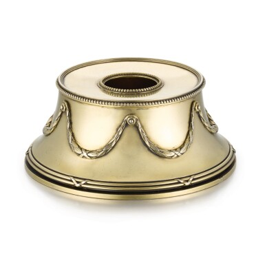 View 1. Thumbnail of Lot 41. A Fabergé silver-gilt inkwell, workmaster Anders (Antti) Nevalainen, St Petersburg, 1899-1903.
