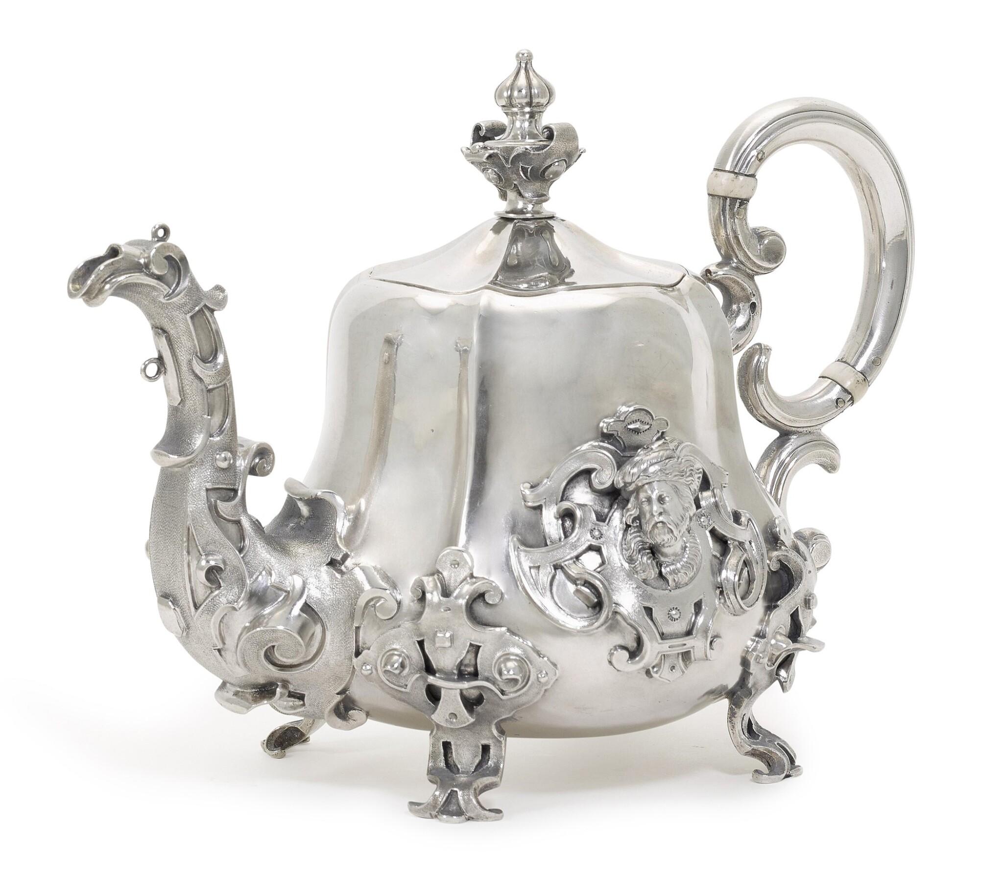 View full screen - View 1 of Lot 217. A silver teapot, Sazikov, Moscow, circa 1850.