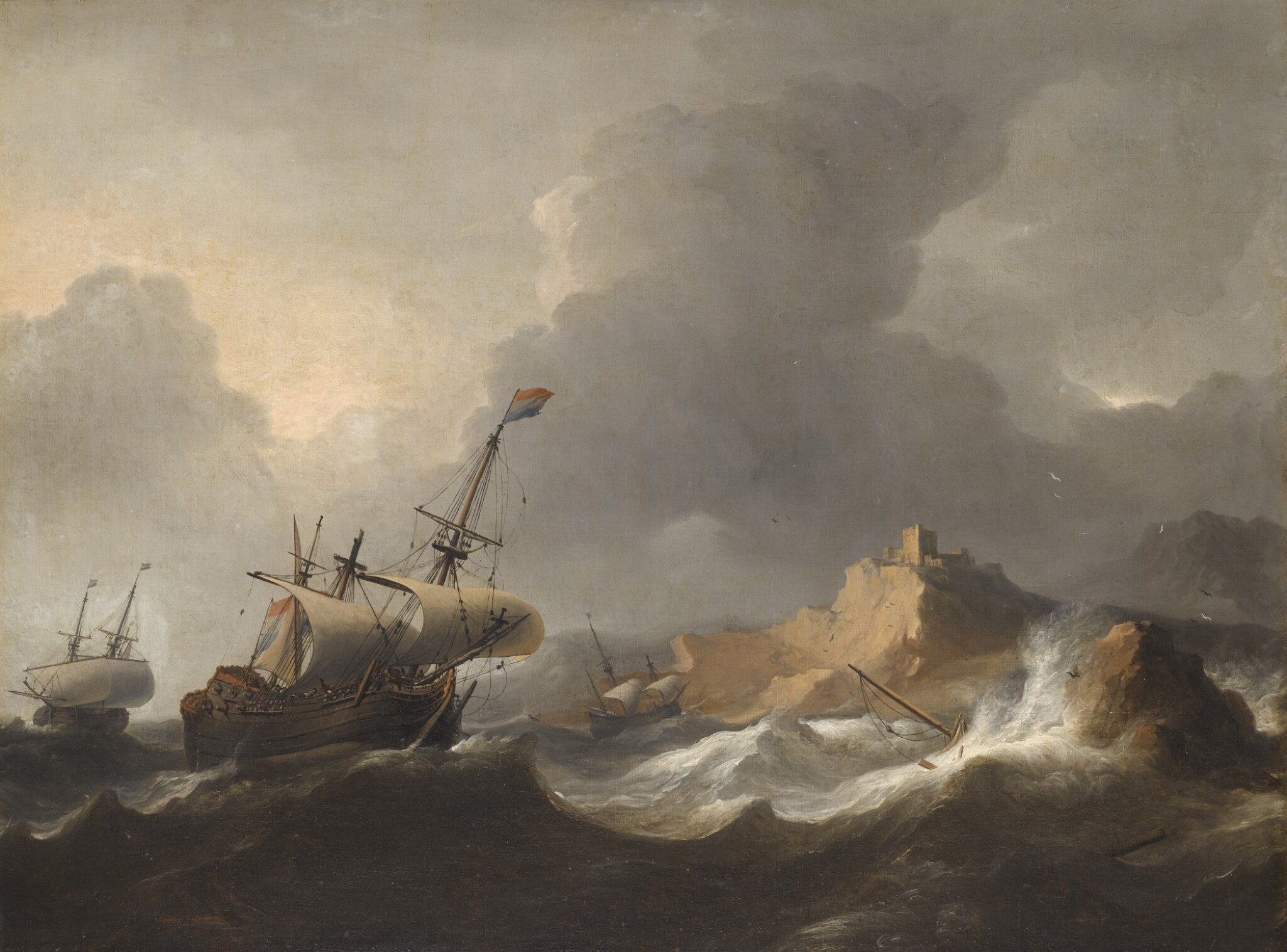 View full screen - View 1 of Lot 213. AERNOUT SMIT | SHIPS IN DISTRESS OFF A ROCKY COAST.