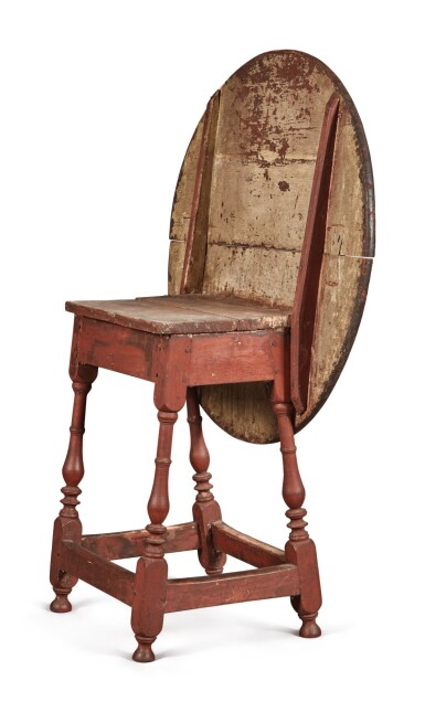 View 5. Thumbnail of Lot 1. William and Mary Red-Painted Maple and Pine Tilt-Top Tavern Table, New England, circa 1730.