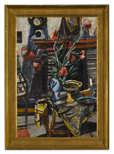 SIGMUND JOSEPH MENKES | STILL LIFE WITH FLOWERS AND BOWL ON A TABLE