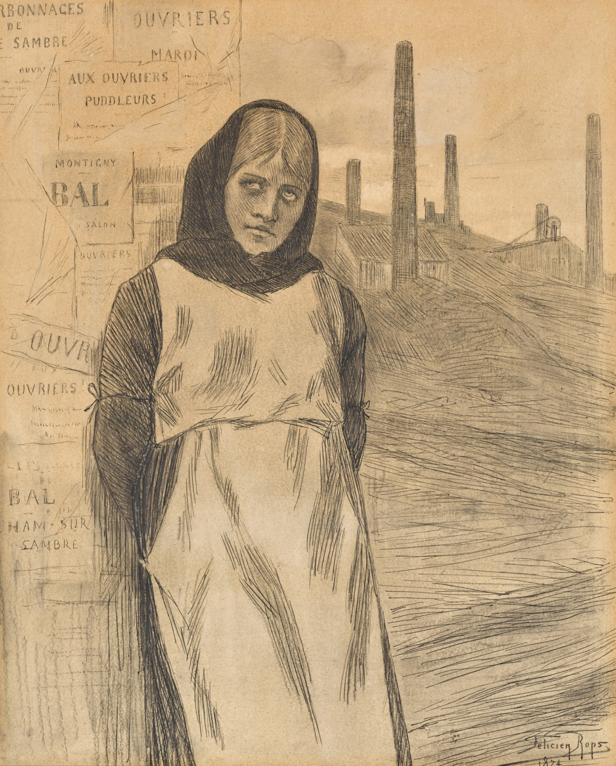 View 1 of Lot 170. Original Drawing for the Print 'La Grève'.