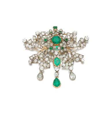 View 3. Thumbnail of Lot 6. Emerald and diamond pendant-necklace (Collana con pendente in smeraldi e diamanti), 1890.