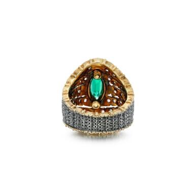 View 3. Thumbnail of Lot 64. Mario Buccellati   Emerald and diamond ring.