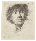 REMBRANDT HARMENSZ. VAN RIJN  |  SELF-PORTRAIT IN A CAP, WIDE-EYED AND OPEN-MOUTHED (B., HOLL. 320; NEW HOLL. 69; H. 32)