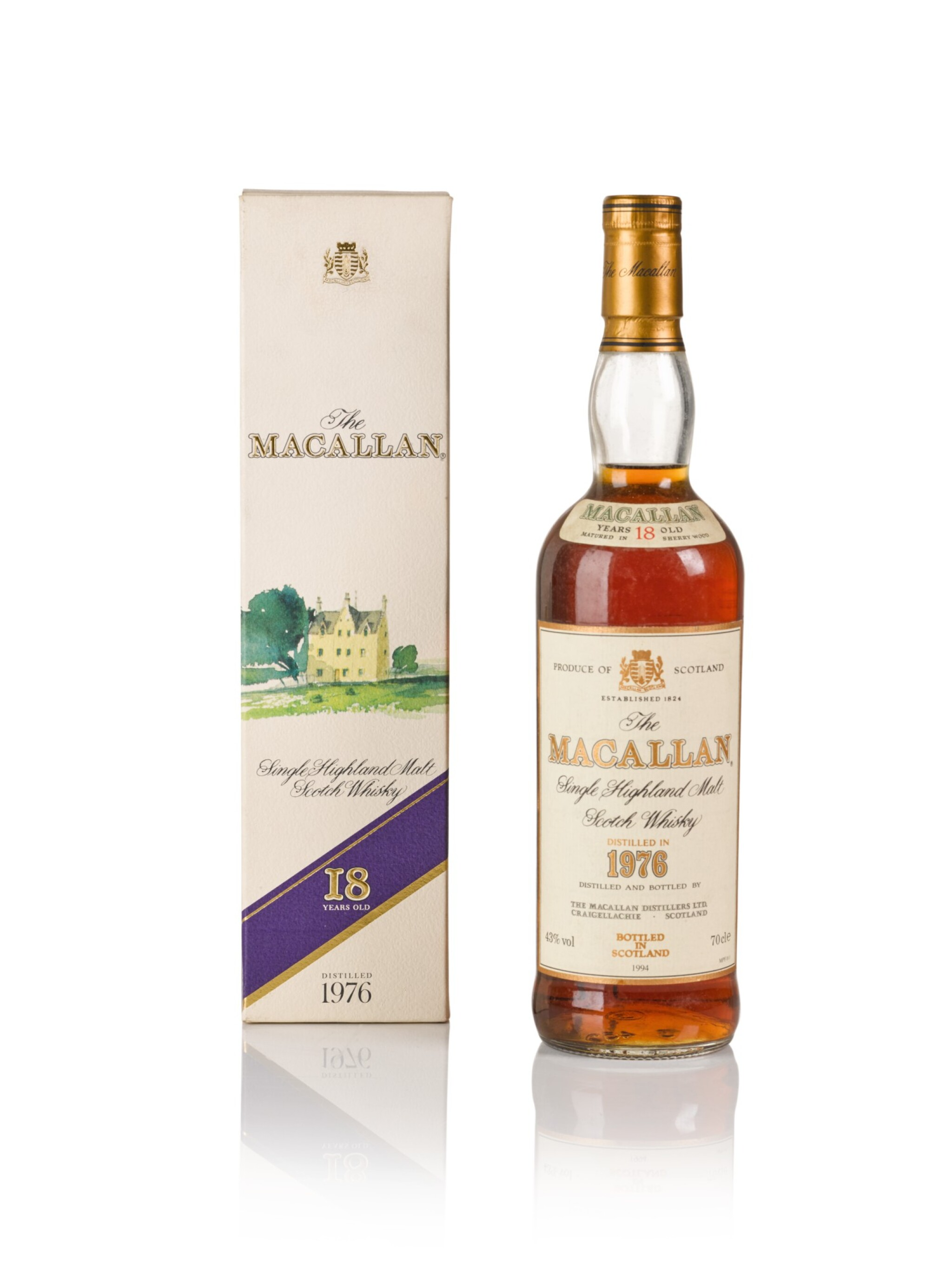 View full screen - View 1 of Lot 1. The Macallan 18 Year Old 43.0 abv 1976 .