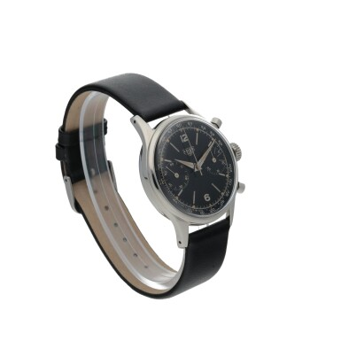View 3. Thumbnail of Lot 49. HEUER | REF 3336NT STAINLESS STEEL CHRONOGRAPH WRISTWATCH  CIRCA 1955.