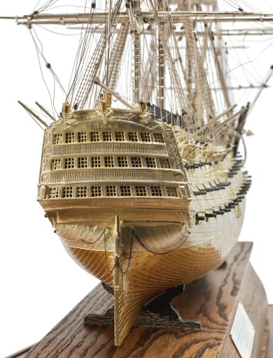 View 4. Thumbnail of Lot 151. A FINE ELIZABETH II PARCEL-GILT SILVER SCALE MODEL OF THE H.M.S VICTORY, DAVID SHAW SILVERWARE LTD. FOR ASPREY & CO., LONDON, 1988.