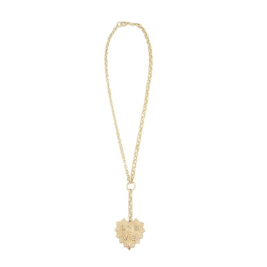 View 1. Thumbnail of Lot 17. Foundrae | 18 Karat Gold and Diamond 'Heart Token' Pendant-Necklace.
