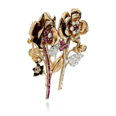 View 3. Thumbnail of Lot 8. PAIR OF RUBY AND DIAMOND CLIP-BROOCHES.