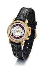 FRANCK MULLER | REFERENCE 2860 NA D, A YELLOW GOLD AND DIAMOND-SET CHRONOGRAPH WRISTWATCH WITH RED ENAMEL CHAPTER RING , CIRCA 2007