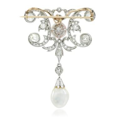 View 3. Thumbnail of Lot 6. Natural pearl and diamond brooch, circa 1910.