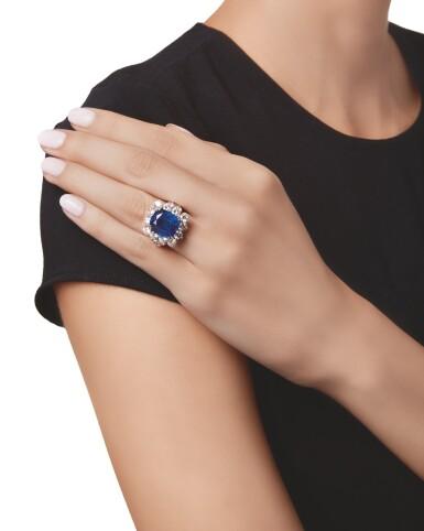 View 2. Thumbnail of Lot 536. SAPPHIRE AND DIAMOND RING | 藍寶石配鑽石戒指.