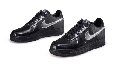 """UNCLE"" RALPH MCDANIELS' NIKE 25TH ANNIVERSARY ""VIDEO MUSIC BOX"" AIR FORCE 1S, SIZE 9"