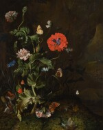 RACHEL RUYSCH | Still life of a thistle between carnations and cornflowers on a mossy forest floor, with butterflies and a cricket