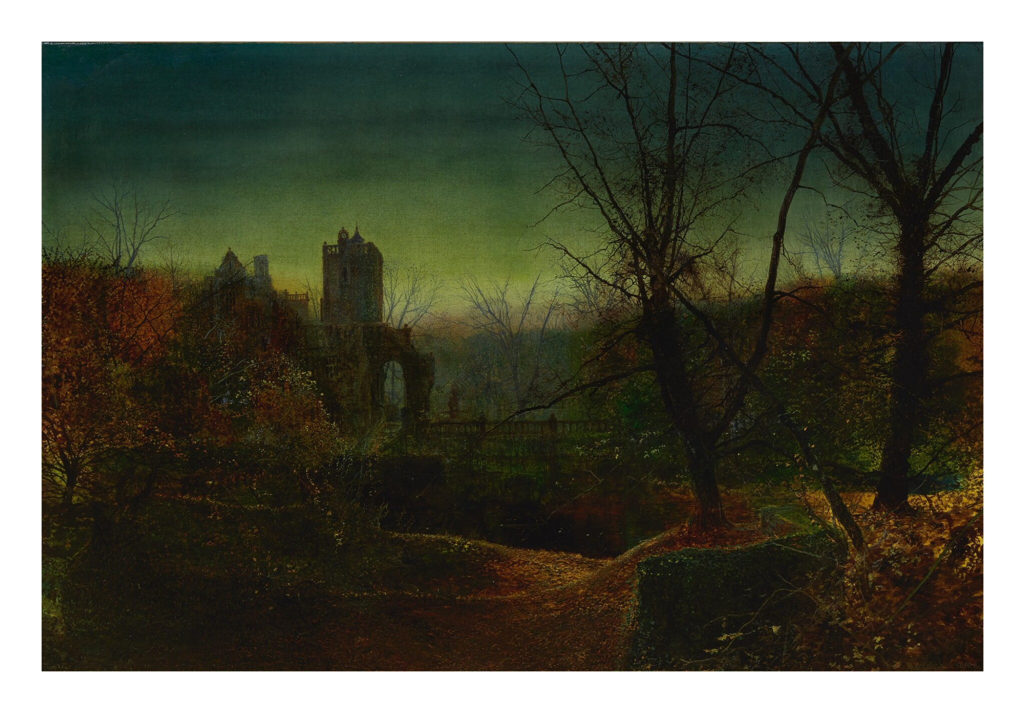 View full screen - View 1 of Lot 5. JOHN ATKINSON GRIMSHAW | KNOSTROP OLD HALL AT DUSK.