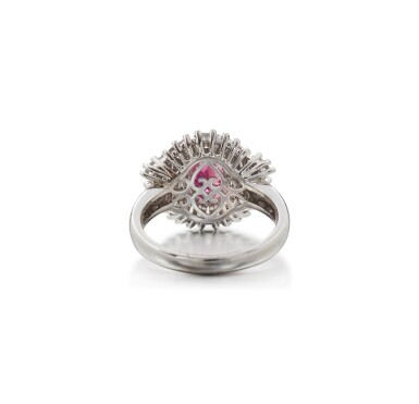 View 3. Thumbnail of Lot 55. RUBY AND DIAMOND RING.