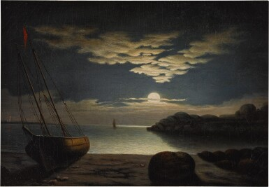 View 1. Thumbnail of Lot 79. Moonlight Seascape, Gloucester Harbor.