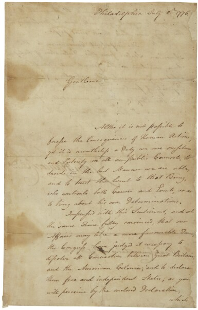 View 1. Thumbnail of Lot 2271. John Hancock, manuscript letter signed, announcing the adoption of the Declaration of Independence, 6 July 1776.