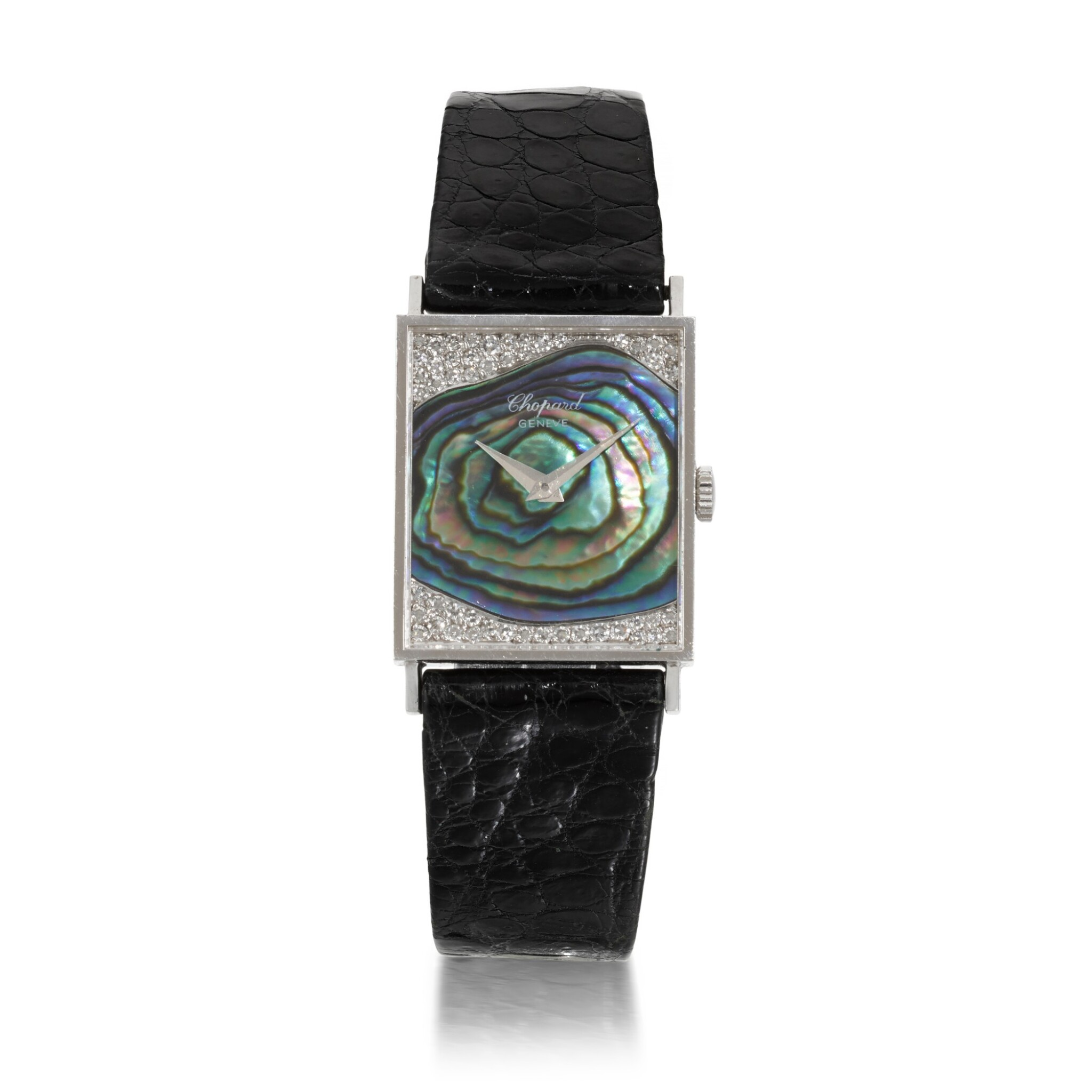 View full screen - View 1 of Lot 456. REFERENCE U2060/1 WHITE GOLD RECTANGULAR WRISTWATCH WITH MOTHER OF PEARL AND DIAMOND-SET DIAL CIRCA 1976.