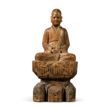 View 1. Thumbnail of Lot 108. A polychrome-painted wood figure of a luohan, Ming dynasty | 明 木雕加彩羅漢坐像.