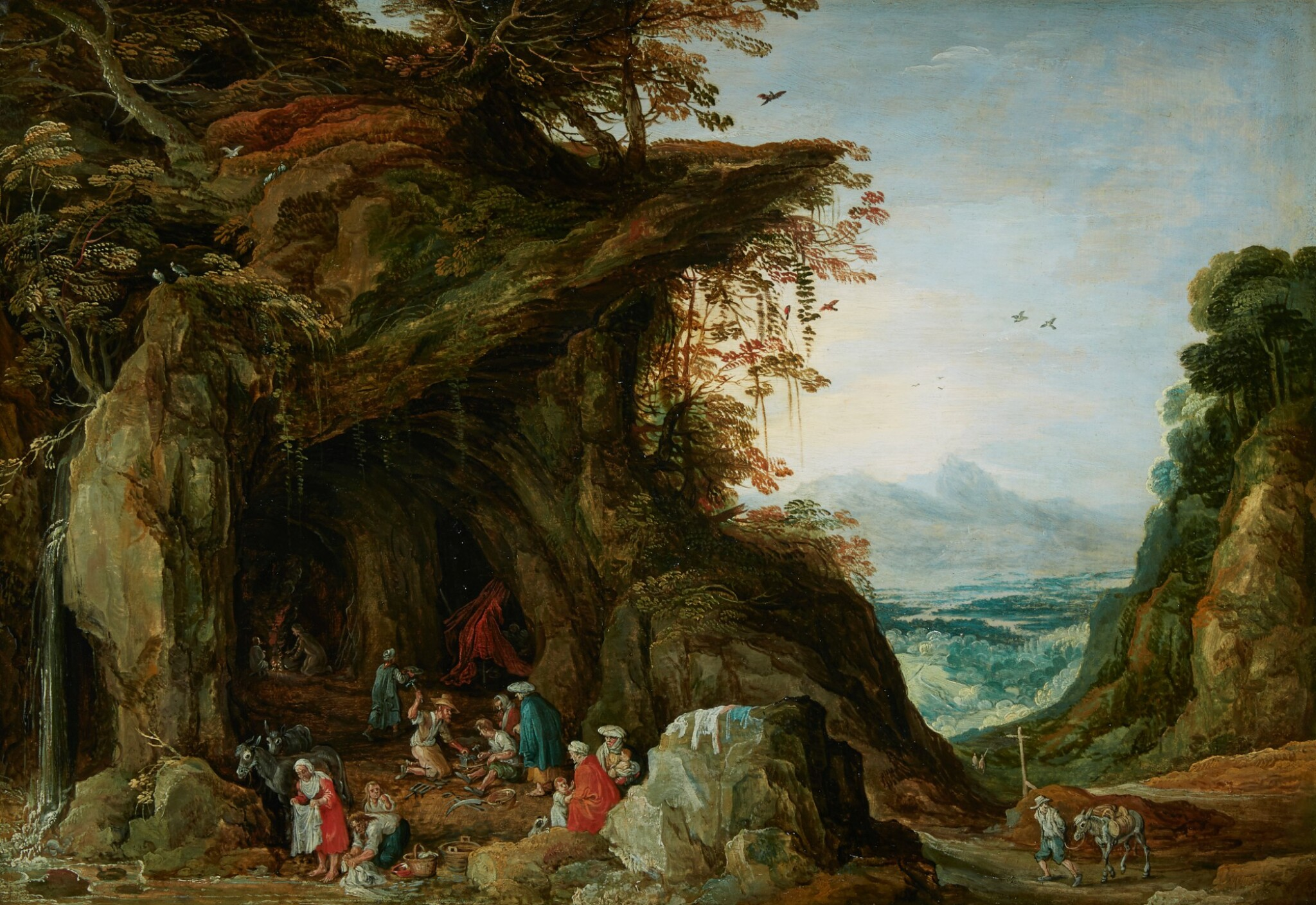 View full screen - View 1 of Lot 60. WORKSHOP OF JOOS DE MOMPER | Landscape with gypsies in a cave.