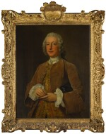 STEPHEN SLAUGHTER | PORTRAIT OF WILLIAM GRAHAM OF PLATTEN HALL, COUNTY MEATH, THREE-QUARTER-LENGTH, HOLDING A SNUFF BOX
