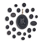 A COLLECTION OF SIXTY-TWO WEDGWOOD BLACK BASALT INTAGLIOS LATE 18TH CENTURY