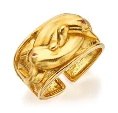GOLD AND RUBY CUFF-BRACELET, DAVID WEBB
