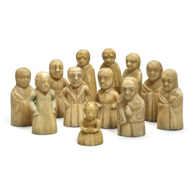 View 2. Thumbnail of Lot 113. A group of twelve carved marine ivory figures depicting Haida and European people, Pacific Northwest Coast, circa 1840.