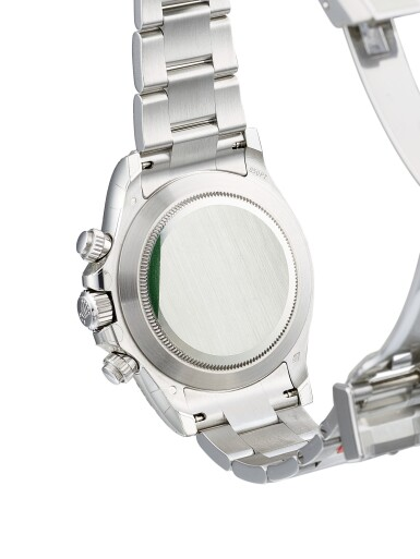 View 3. Thumbnail of Lot 2015. Rolex   Cosmograph Daytona, Reference 116506, A brand new platinum and diamond-set chronograph wristwatch with bracelet, Circa 2020   勞力士   Cosmograph Daytona 型號116506 全新鉑金鑲鑽石計時鏈帶腕錶,約2020年製.