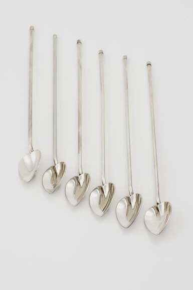 SET OF SIX AMERICAN SILVER COCKTAIL SPOONS