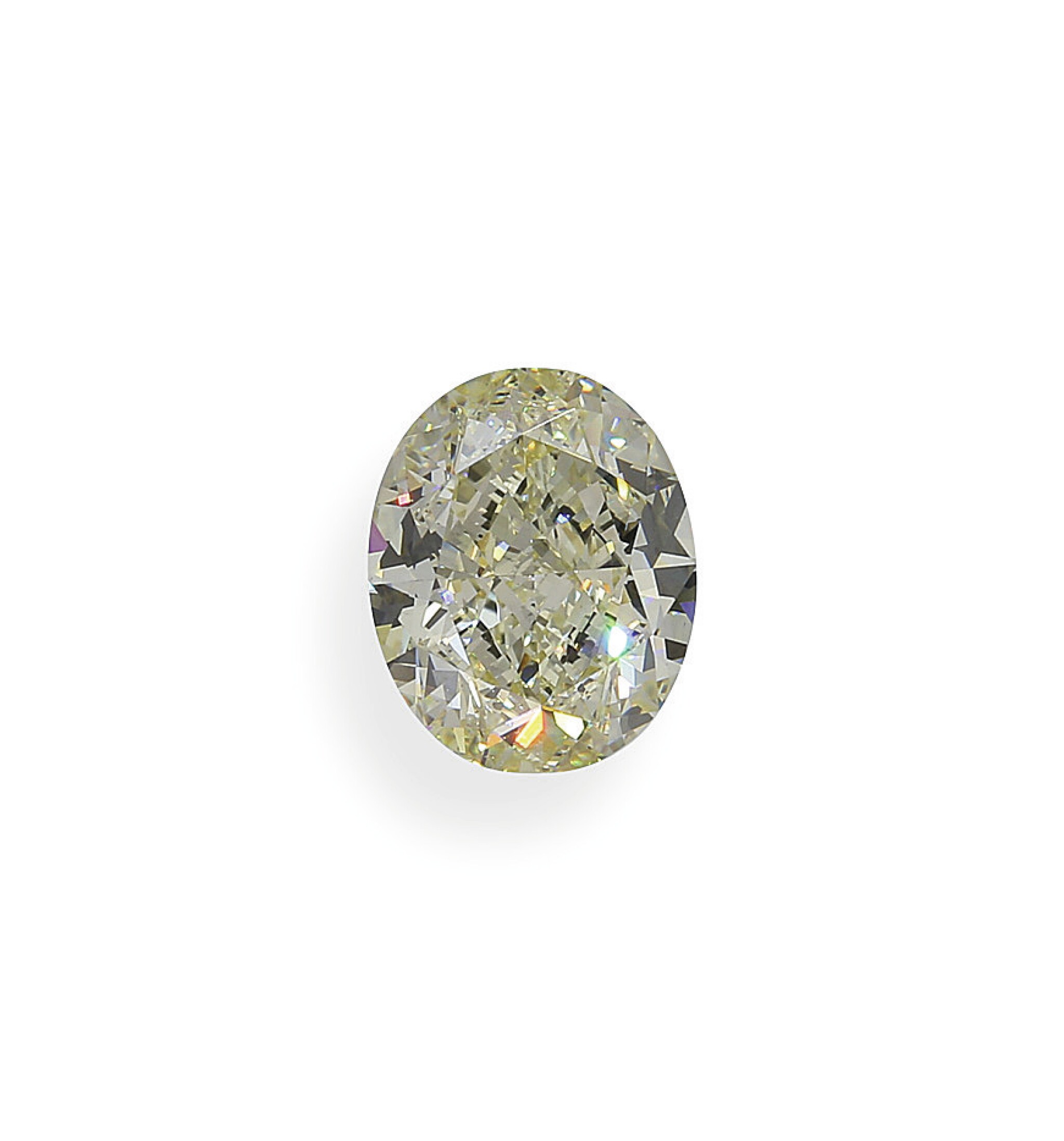 View full screen - View 1 of Lot 10. A 3.95 Carat Oval-Shaped Diamond, Y-Z Color, VS1 Clarity.