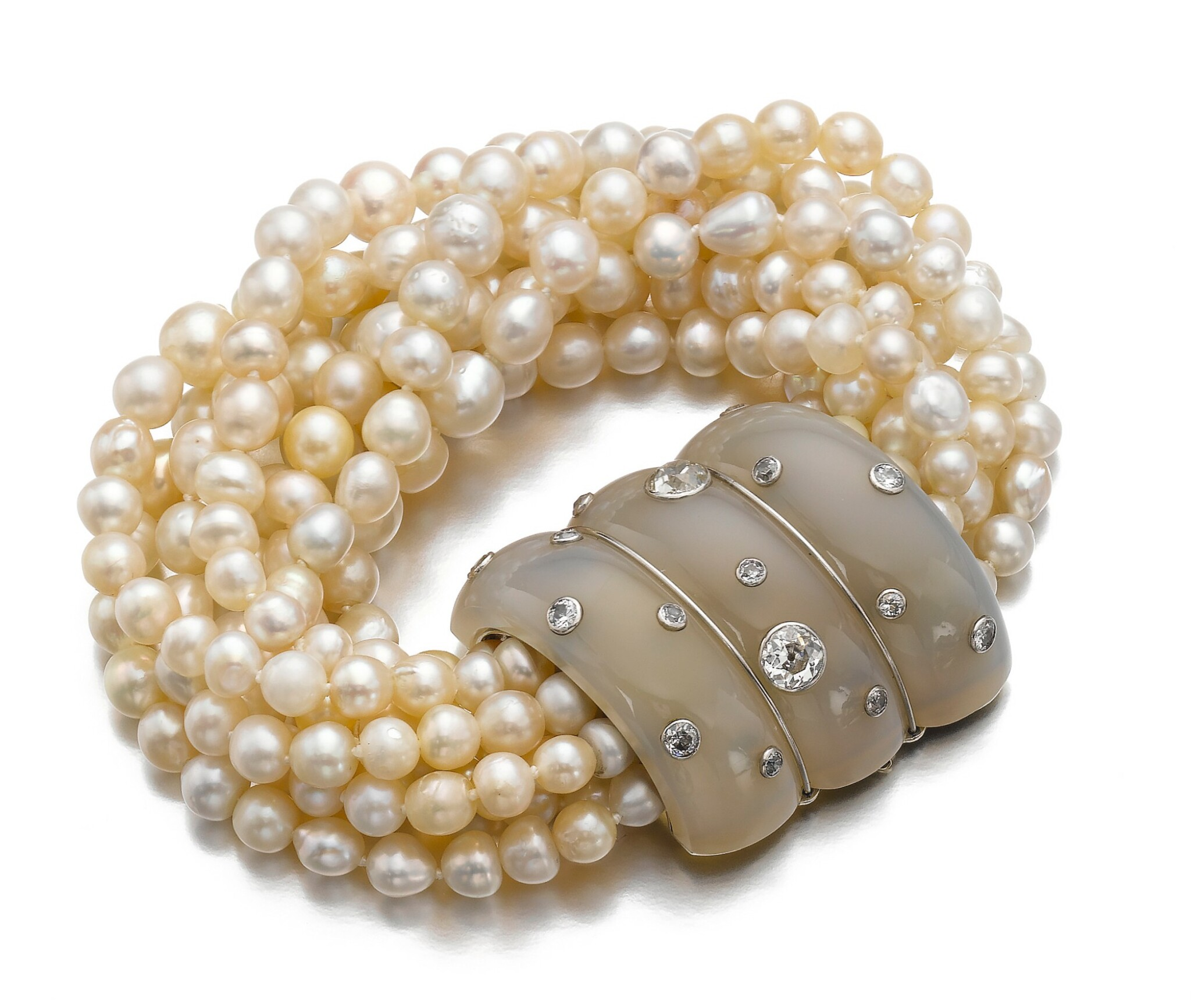 View full screen - View 1 of Lot 43. SUZANNE BELPERRON   CHALCEDONY, CULTURED PEARL AND DIAMOND BRACELET, CIRCA 1935.
