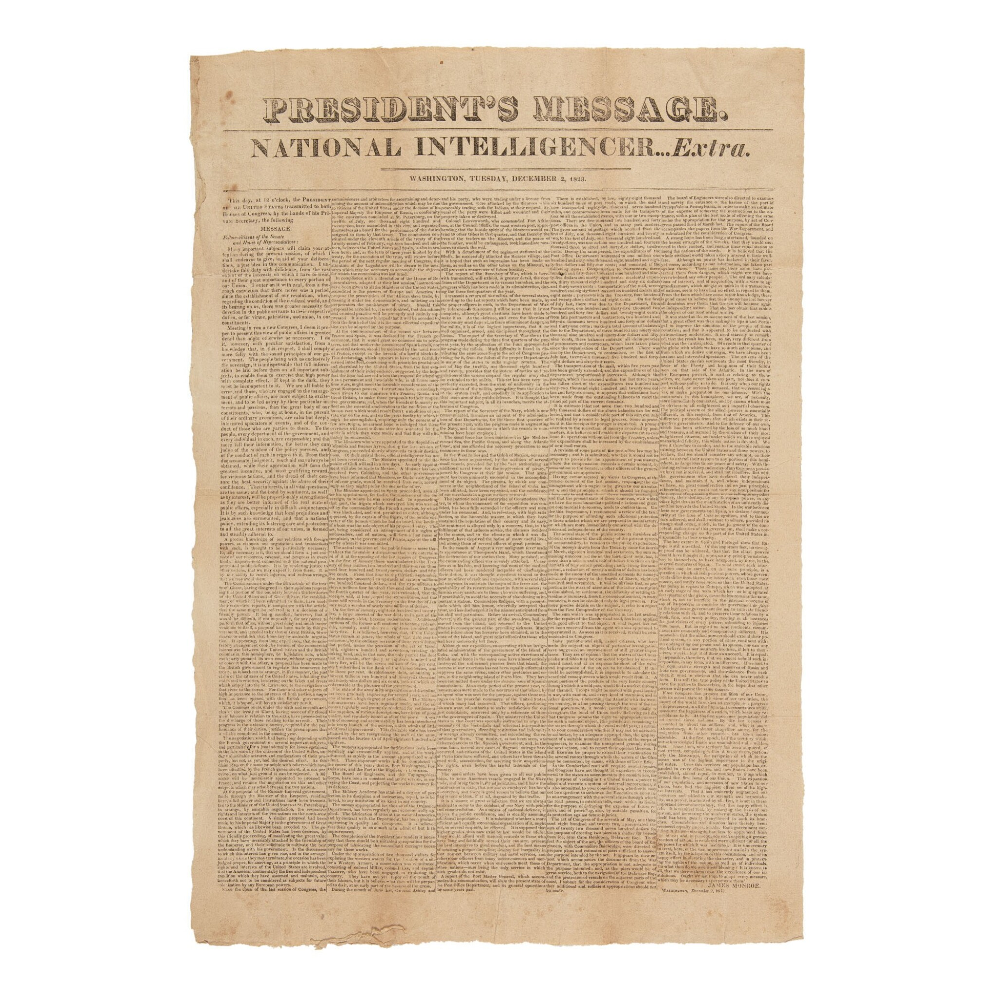 View full screen - View 1 of Lot 339. Monroe, James | First printing of the Monroe Doctrine.