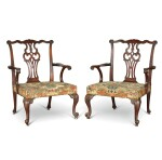 A PAIR OF GEORGE II CARVED MAHOGANY OPEN ARMCHAIRS, CIRCA 1755
