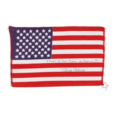 View 1. Thumbnail of Lot 112. [APOLLO 11]. FLOWN TO THE MOON ON APOLLO 11, BUZZ ALDRIN'S UNITED STATES FLAG.